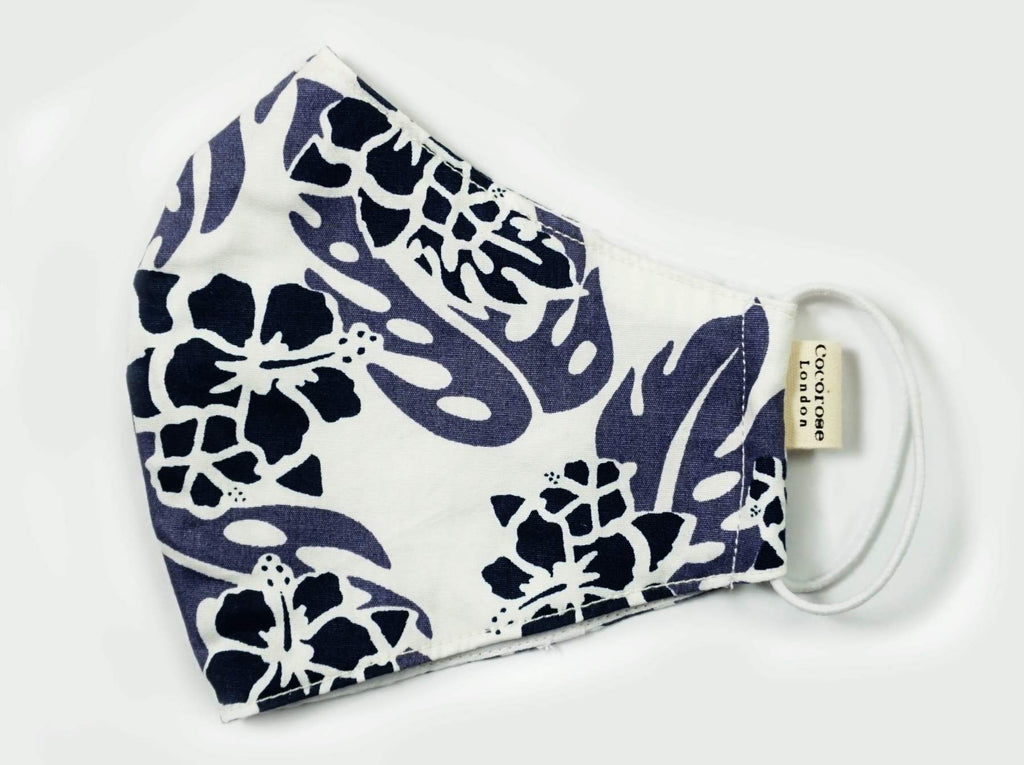 Cocorose London - Floral Print Blue Cotton Face Mask with Filter Pocket/Matching Pouch