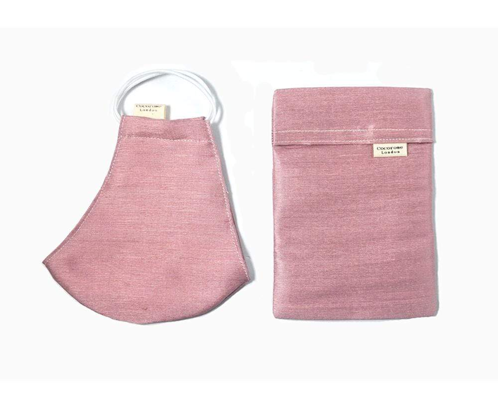 Cocorose London - Blush Silk Face Mask with Filter Pocket/Matching Pouch
