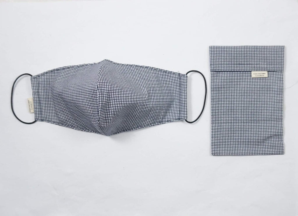 Cocorose London - Gingham Navy Cotton Face Mask with Filter Pocket/Matching Pouch