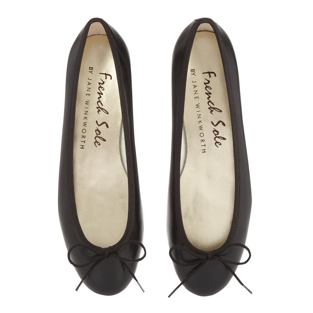 French Sole - Henrietta Black Leather with black trim