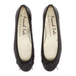 French Sole - Henrietta Black Patent Croc Flats