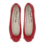 French Sole - Henrietta Red Patent Croc Flats