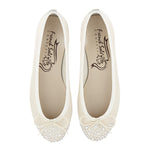 French Sole - Henrietta Ivory Satin with Crystals and Ivory Trim