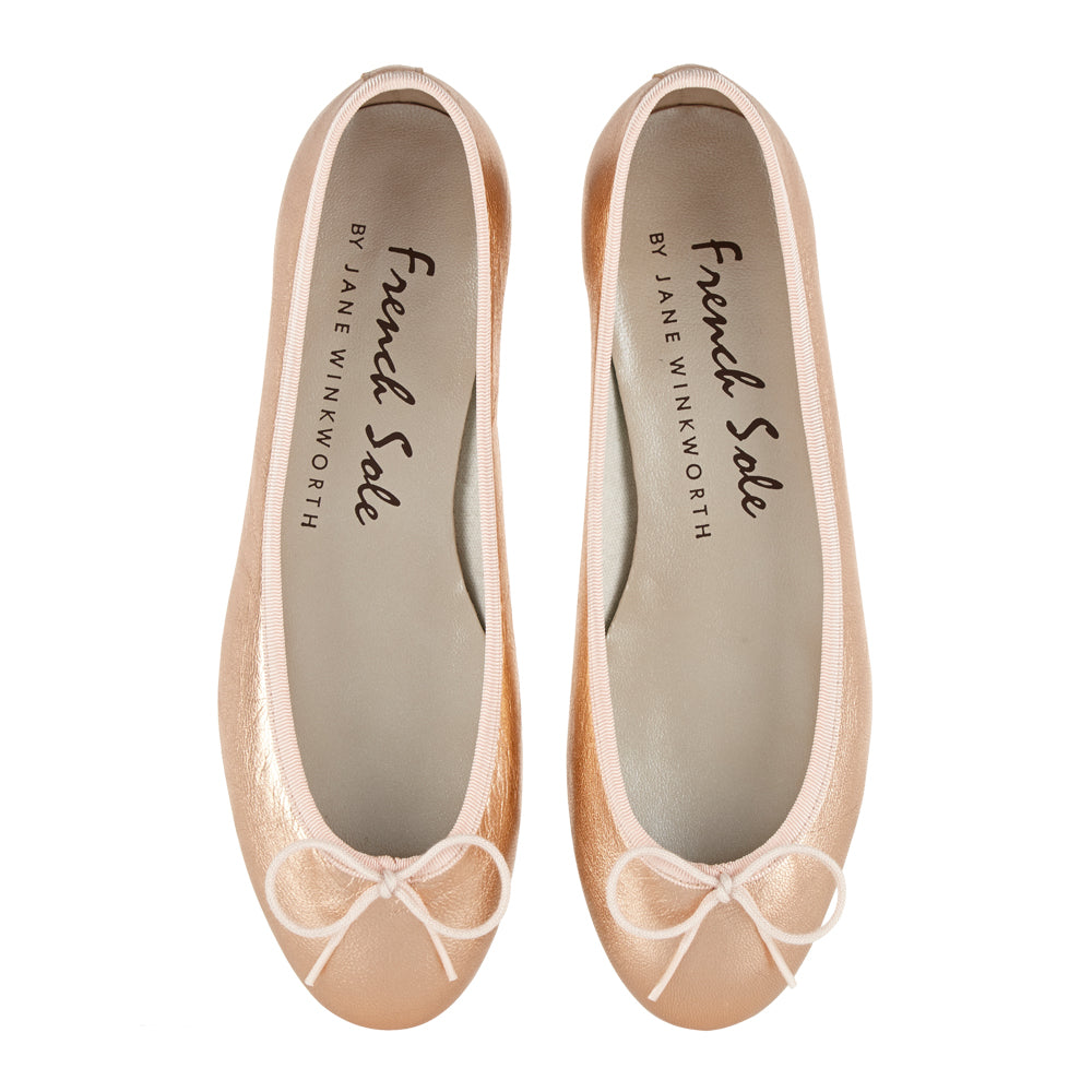 French Sole - Henrietta Metallic Leather Rose gold