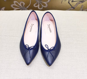 Repetto Paris - Brigette Pointy Ballerina Navy Nappa Leather