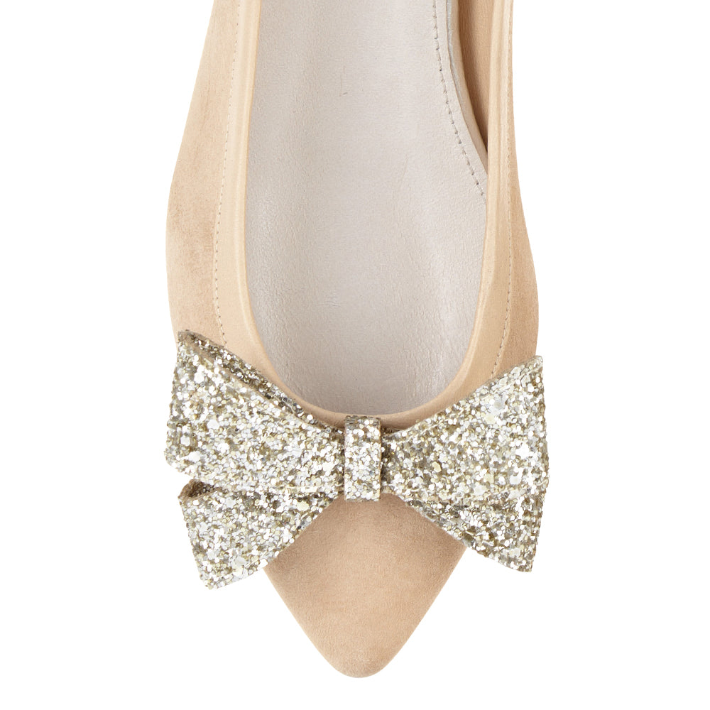 French Sole - Knightsbridge Beige Suede with silver glitter bow