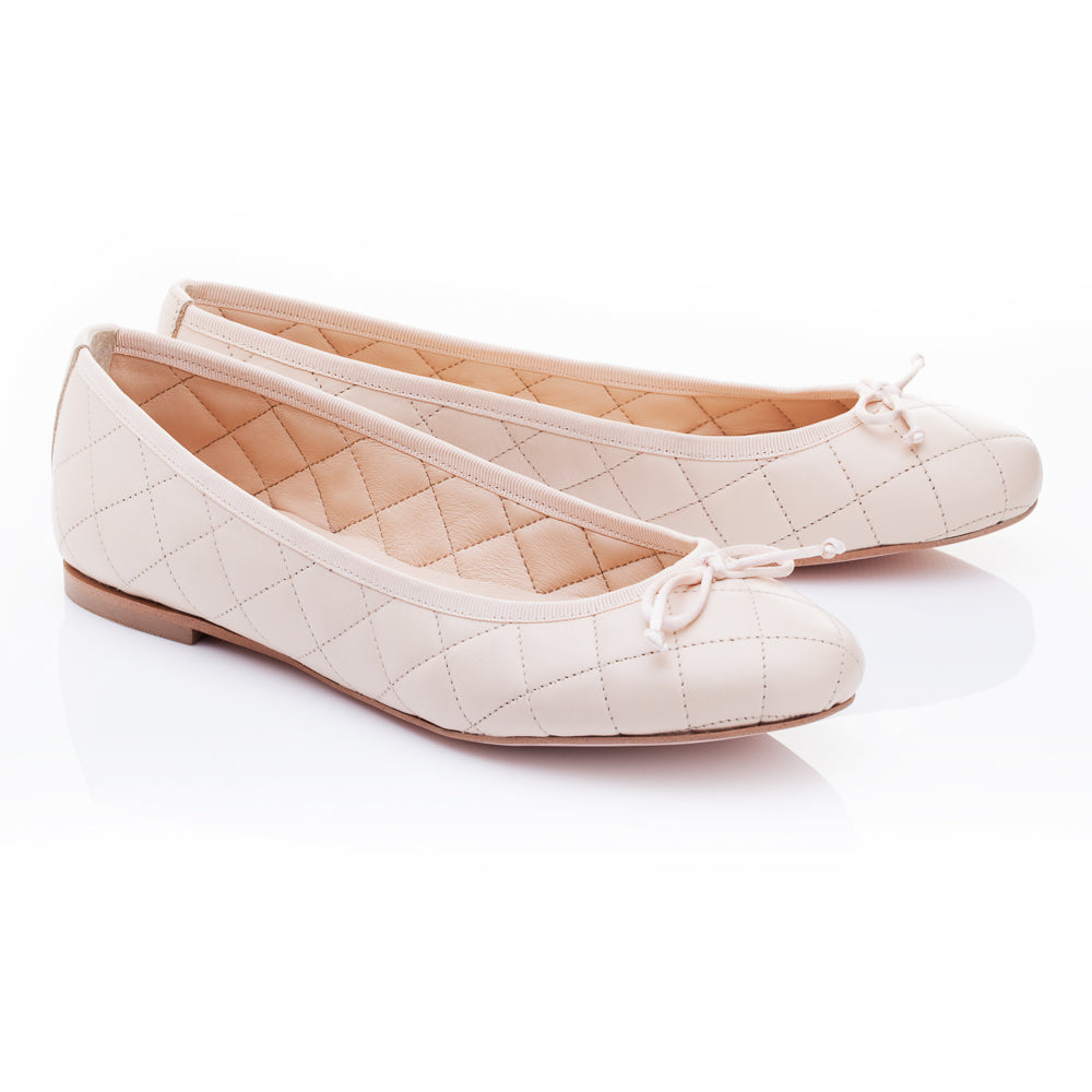 French Sole - Lola Quilted Beige Leather PRE-ORDER