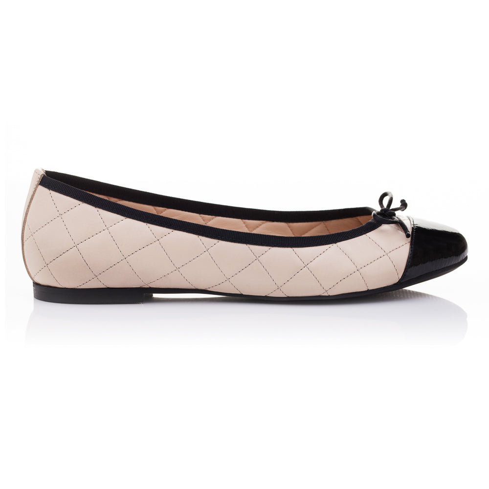 French Sole - Lola Quilted Beige Leather/ Black Patent Toe Cap PRE-ORDER