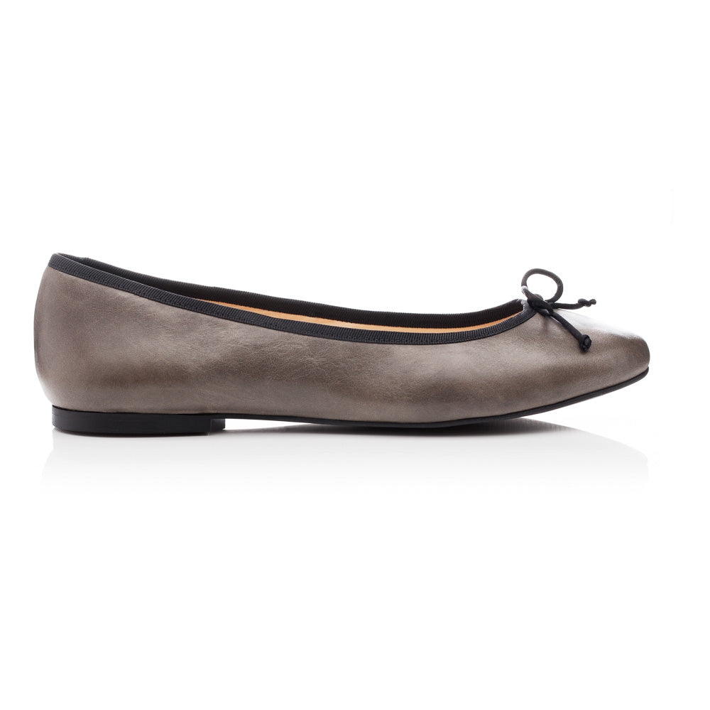 French Sole - Lola Grey Leather with Black Trim PRE-ORDER