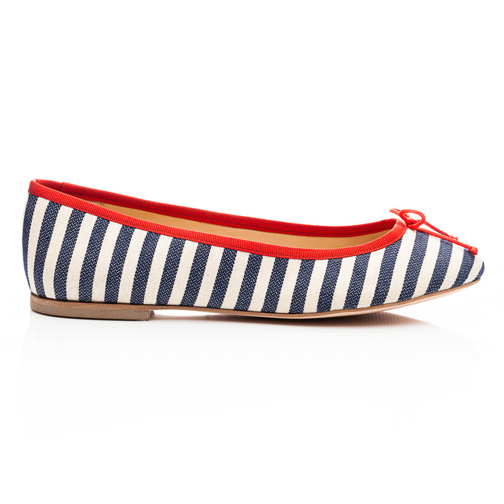 French Sole - Lola Textile Blue/Red Stripe PRE-ORDER