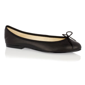 French Sole - India Black Leather Ballet Flat with Black trim