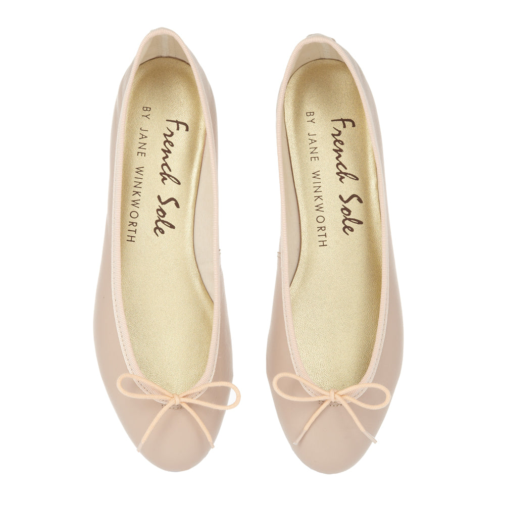 French Sole - India Nude Leather with Nude Trim
