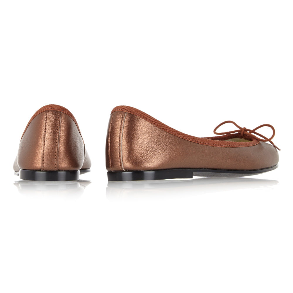 French Sole - India Bronze Metallic Leather with Brown Trim