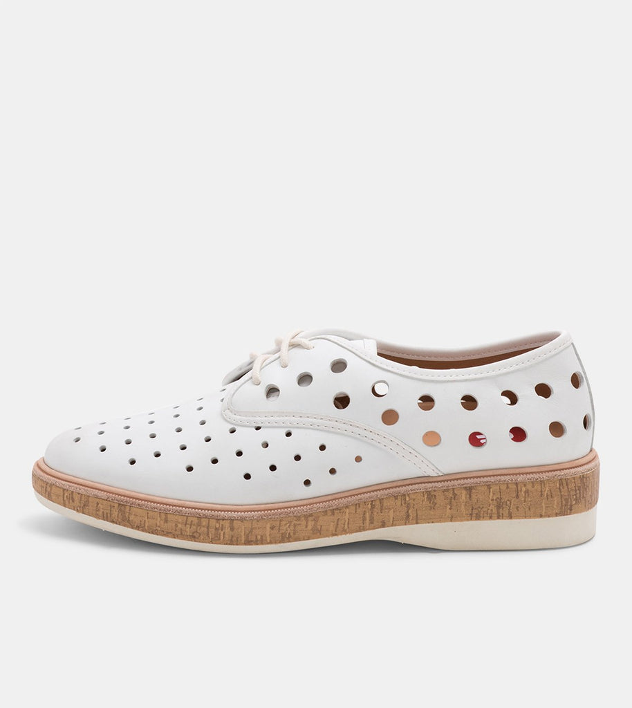 Rollie - Derby Midsole Cork Circle Punch White