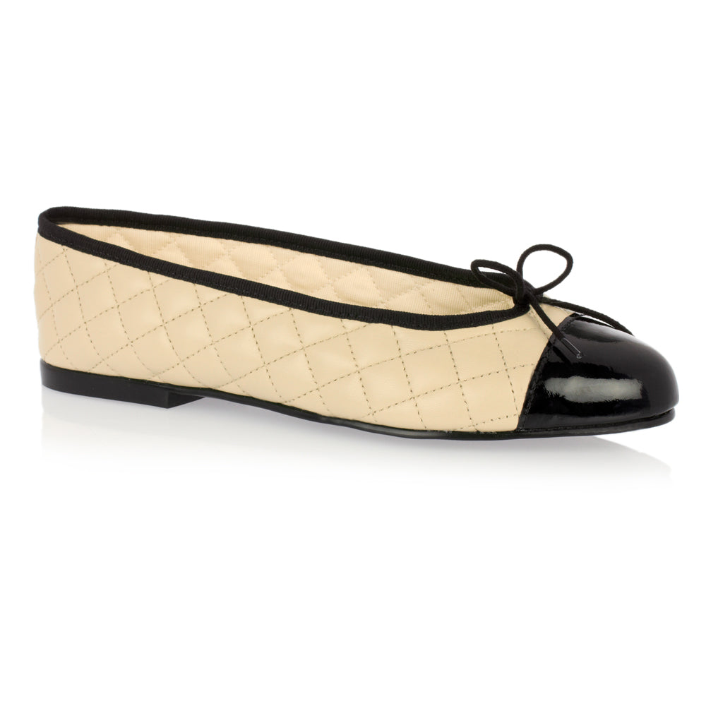 French Sole - Simple Quilt with Black Patent Toe Cream