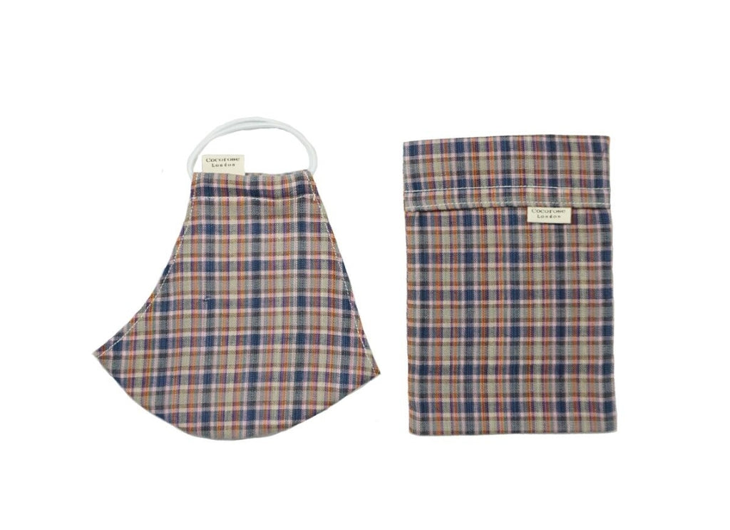 Cocorose London - Gingham Colour Cotton Face Mask with Filter Pocket/Matching Pouch