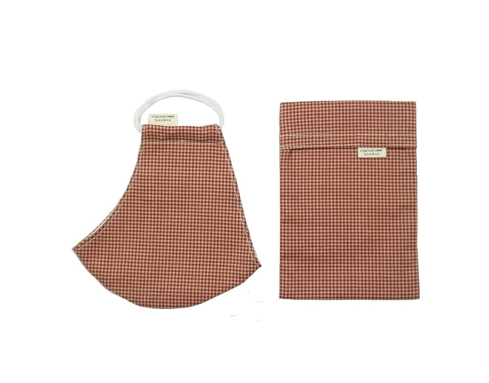 Cocorose London - Gingham Rust Cotton Face Mask with Filter Pocket/Matching Pouch