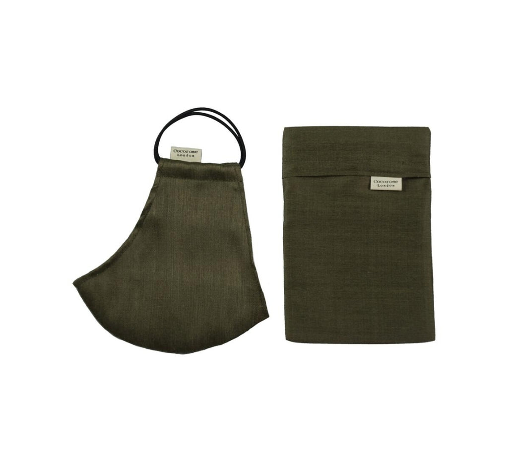 Cocorose London - Olive Khaki Silk Face Mask with Filter Pocket/Matching Pouch