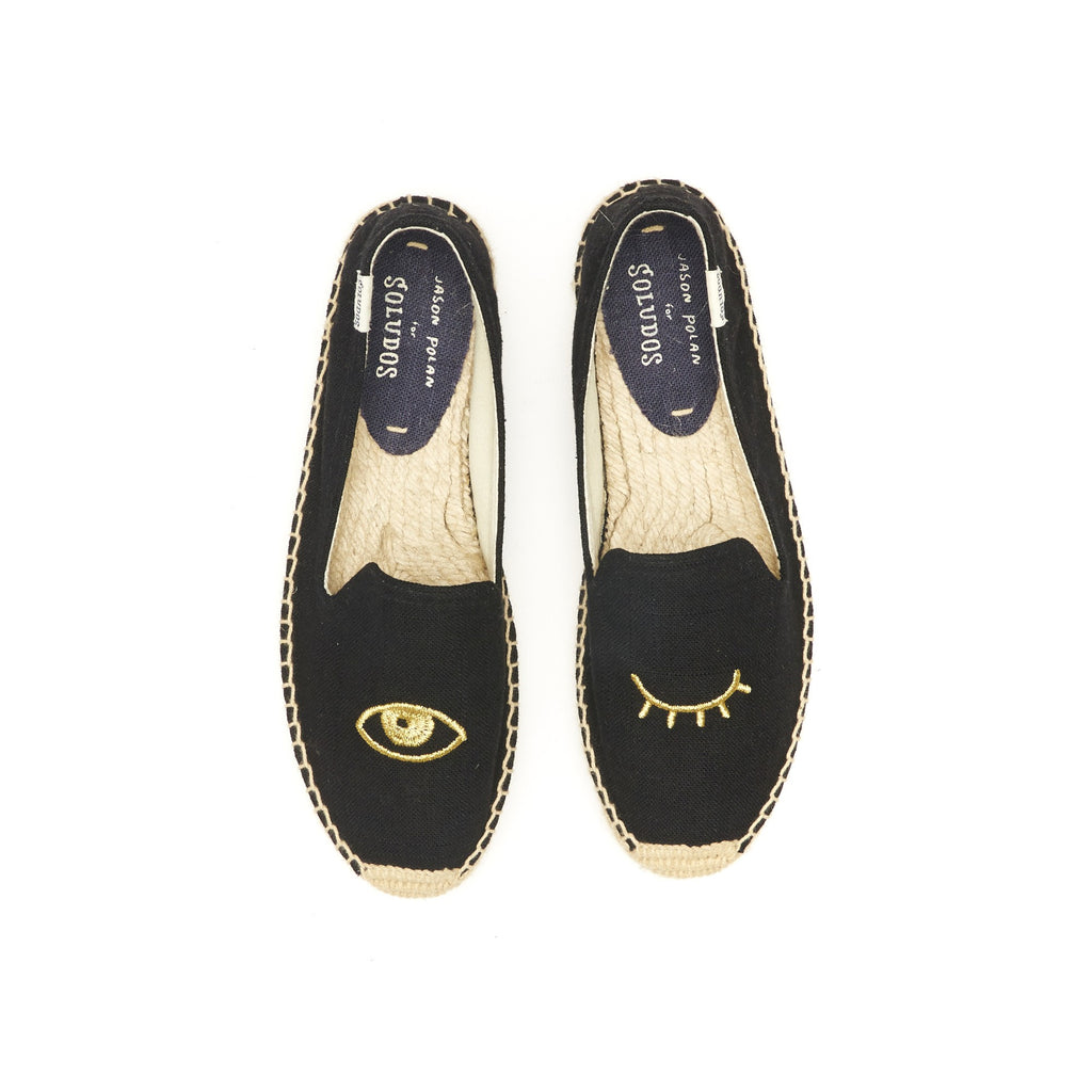 Soludos - Wink Embroidery Smoking Slipper Black