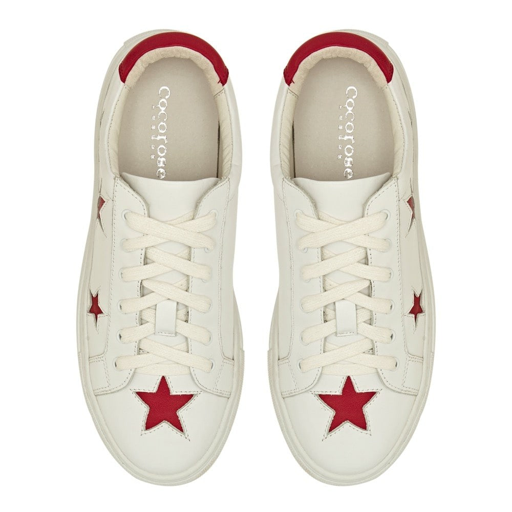 Cocorose London - Hoxton White with Red Stars Trainers