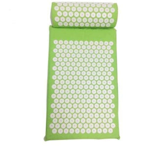 Acupressure Mat And Pillow Set For Back Neck Pain Relief And Muscle Relaxation Green-Pillow Cerebralbodystore