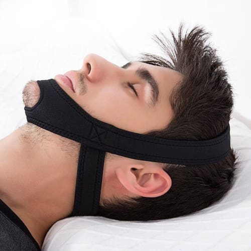 Stop Snoring Chin Strap Jaw Support For All Sleeping Positions Black Ergonomic Cerebralbodystore