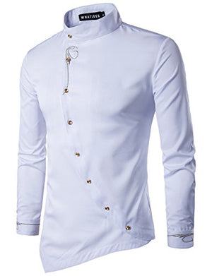 Mens Hipster Casual Slim Fit Long Sleeve Button Down Dress Shirts Tops with Embroidery