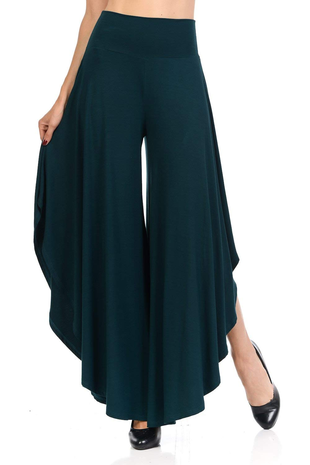 Layered Wide Leg Flowy Cropped Palazzo Pants, 3/4 Length High Waist Palazzo Wide Legs Capri Pants