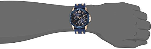 GUESS  Comfortable Blue Stain Resistant Silicone + Rose Gold-Tone Stainless Steel Watch with Day, Date + 24 Hour Military/Int'l Time. Color: Blue (Model: U0366G2): Guess: Gateway