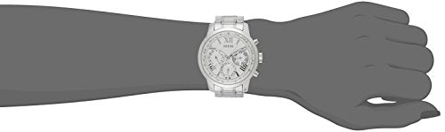 GUESS Women's Sporty Silver-Tone Stainless Steel Watch with Multi-function Dial and Pilot Buckle