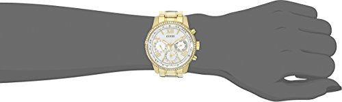 GUESS Women's Sporty Gold-Tone Stainless Steel Watch with Multi-function Dial and Pilot Buckle
