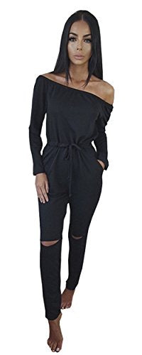 Off-Shoulder Drawstring Jumpsuits Rompers Knee Hole Pants