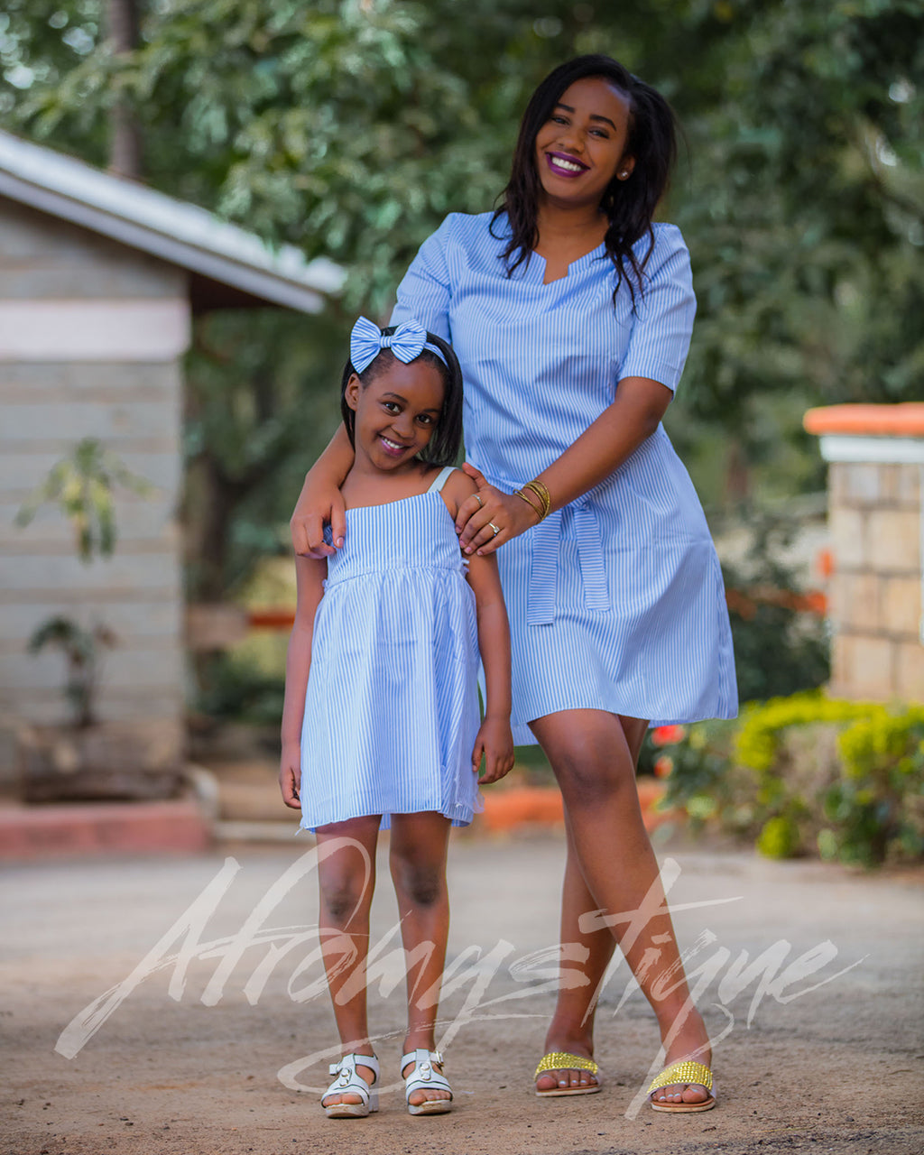 Mommy Daughter Stripped Shirt Dress