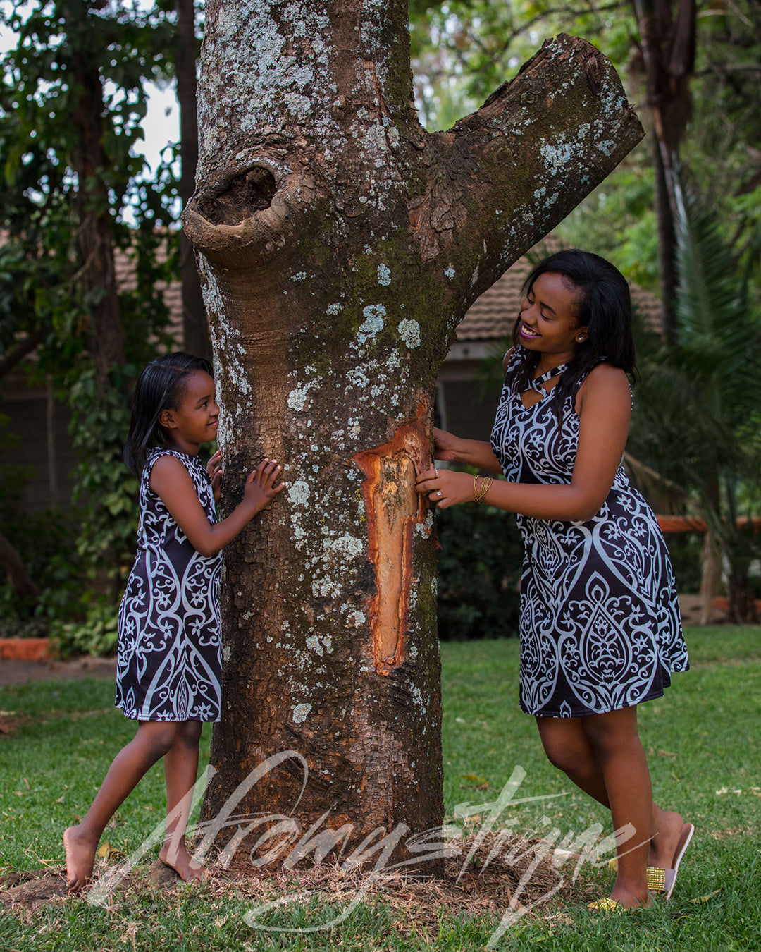 Mommy Daughter Black and White Floral Dress