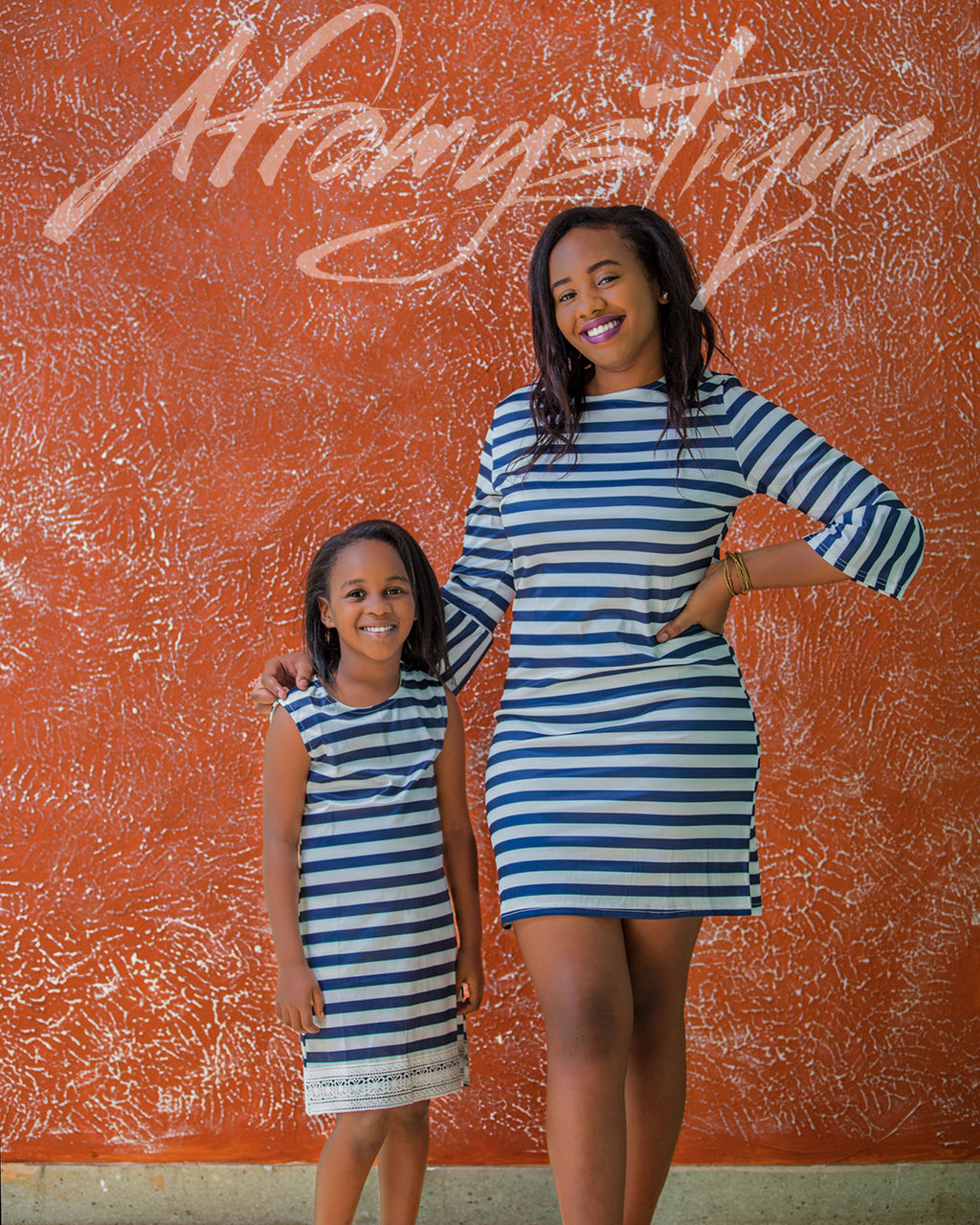 Mommy Daughter Stripped Short Dress