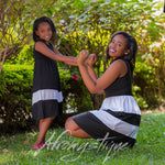 Mommy Daughter Striped Patchwork Dress