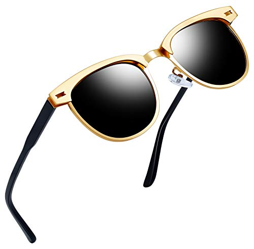 Semi Rimless Polarized Retro Sunglasses for Men