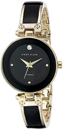 Anne Klein Black and Goldtone Diamond Dial Watch