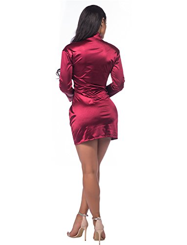 Long Sleeve Deep V-Neck Club Mini Dress