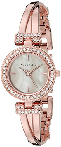 Anne Klein Rose Goldtone Crystal Bangle & Watch Set