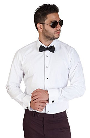 Mens Slim Fit White Tuxedo Shirt French Cuff Wrinkle Free by Azar