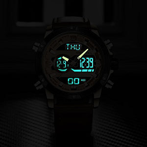 Genuine Leather Band Analog Digital LED Dual Time Display Mens Watch