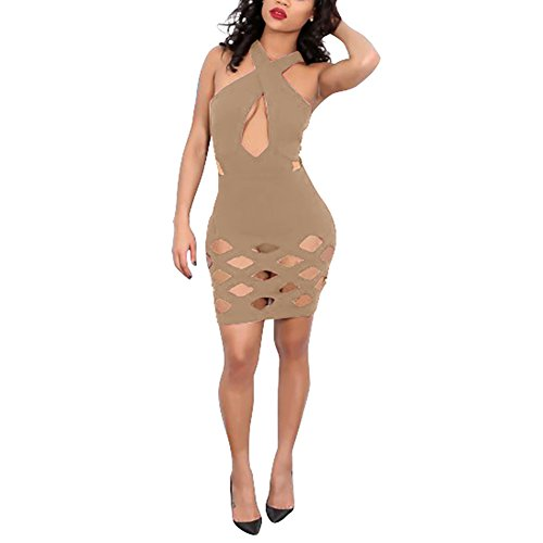 Sexy Halter Neck Cross Front Hollow Out Bodycon Party Bandage Dress Clubwear