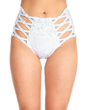 iHeartRaves Criss Cross Hologram High Waisted Rave Booty Shorts Bottoms