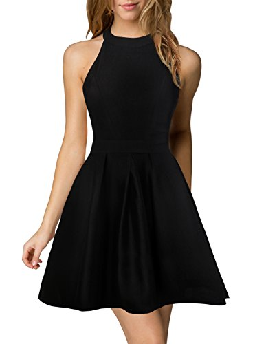 Halter Neck Backless Black Cocktail Party Dress