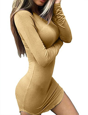Women's Sexy Bodycon Tight Long Sleeve Mini T Shirts Dresses Irregular Hem