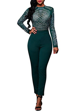 Sequin See Through Mesh Top Bodycon Clubwear Jumpsuit Romper