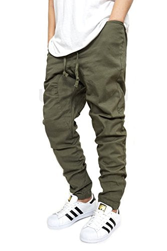 Men's Olive Twill Drop Crotch Jogger Pants
