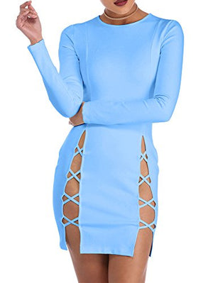 Women's Sexy Summer Bodycon Long sleeves Lace up Mini Club Dress