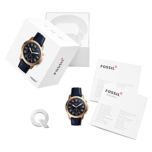 Fossil Q Men's Stainless Steel and Leather Smartwatch, Color: Rose Gold, Blue (Model: FTW1155)